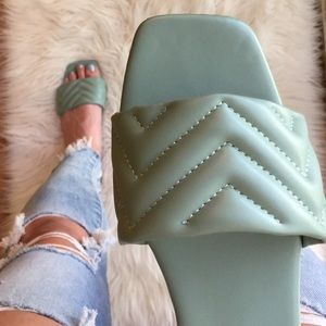 Sea Foam Quilted Square Toe Sandals